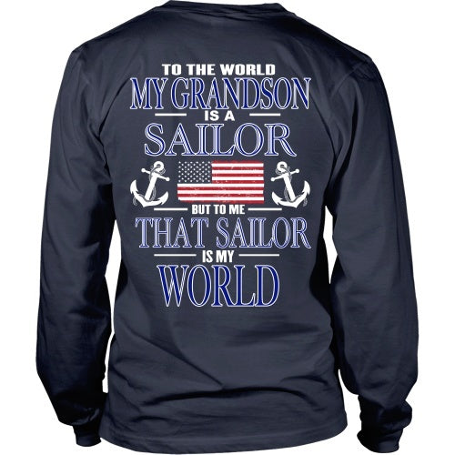 T-shirt - To The World My Grandson Is A Sailor - Back