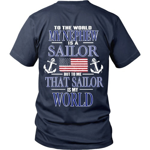 T-shirt - To The World My Nephew Is A Sailor - Back Design