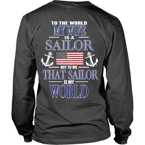 T-shirt - To The World My Wife Is A Sailor - Back