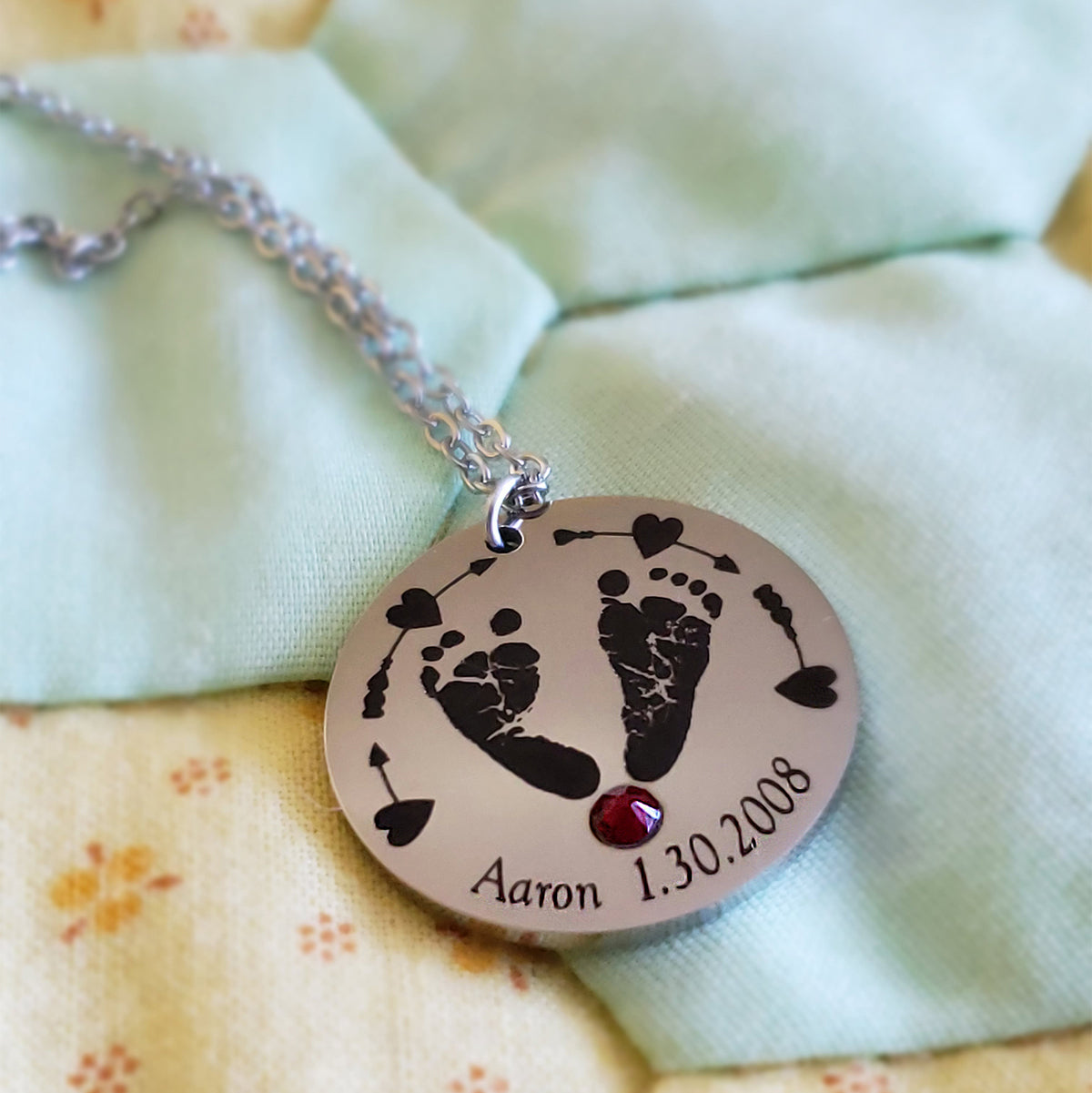 PERSONALIZED - Remember the Birth of Your Baby Forever with Her Name, Birth Date, Birthstone, and Footprints!