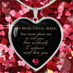 To My Beautiful Wife Heart Pendant! A Gorgeous Gift for Jane Austen Fans