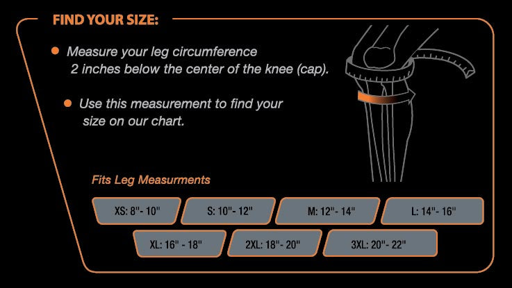 Knee Compression Size Chart