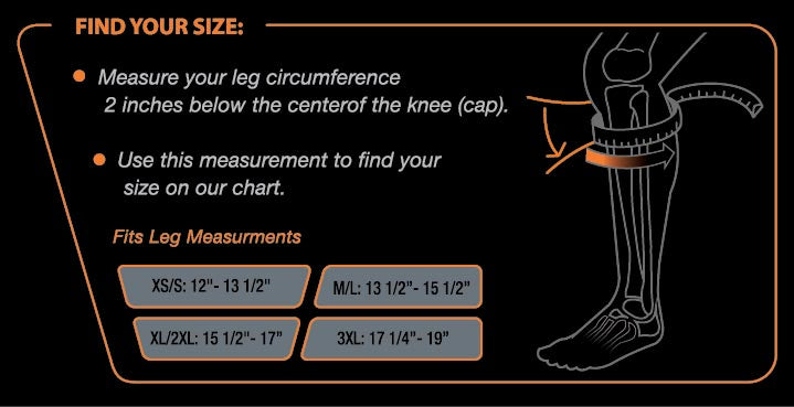 Patellar Tendon Brace Size Chart