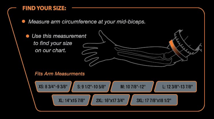 Tricep Compression Elbow Brace Size Chart