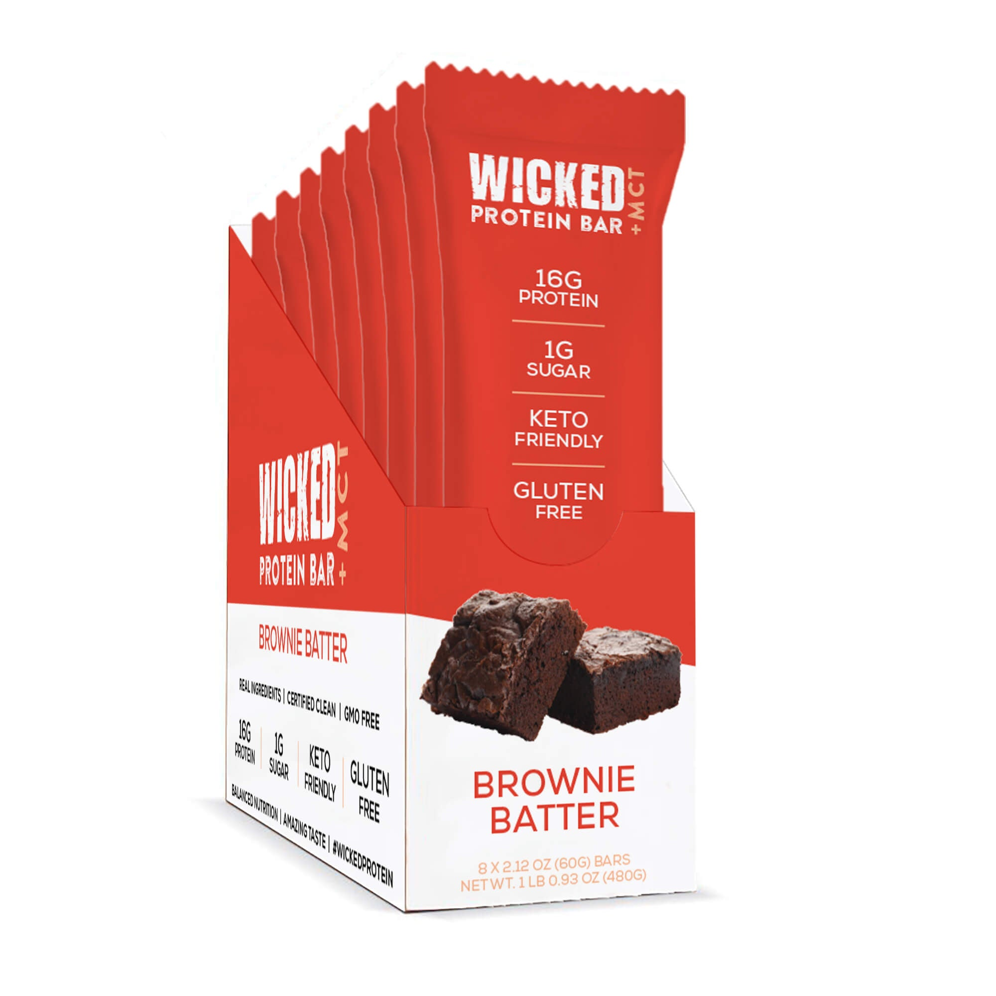 WICKED Refrigerated Brownie Batter Protein Bars (8 Bars/Box) - WICKED Protein Bars