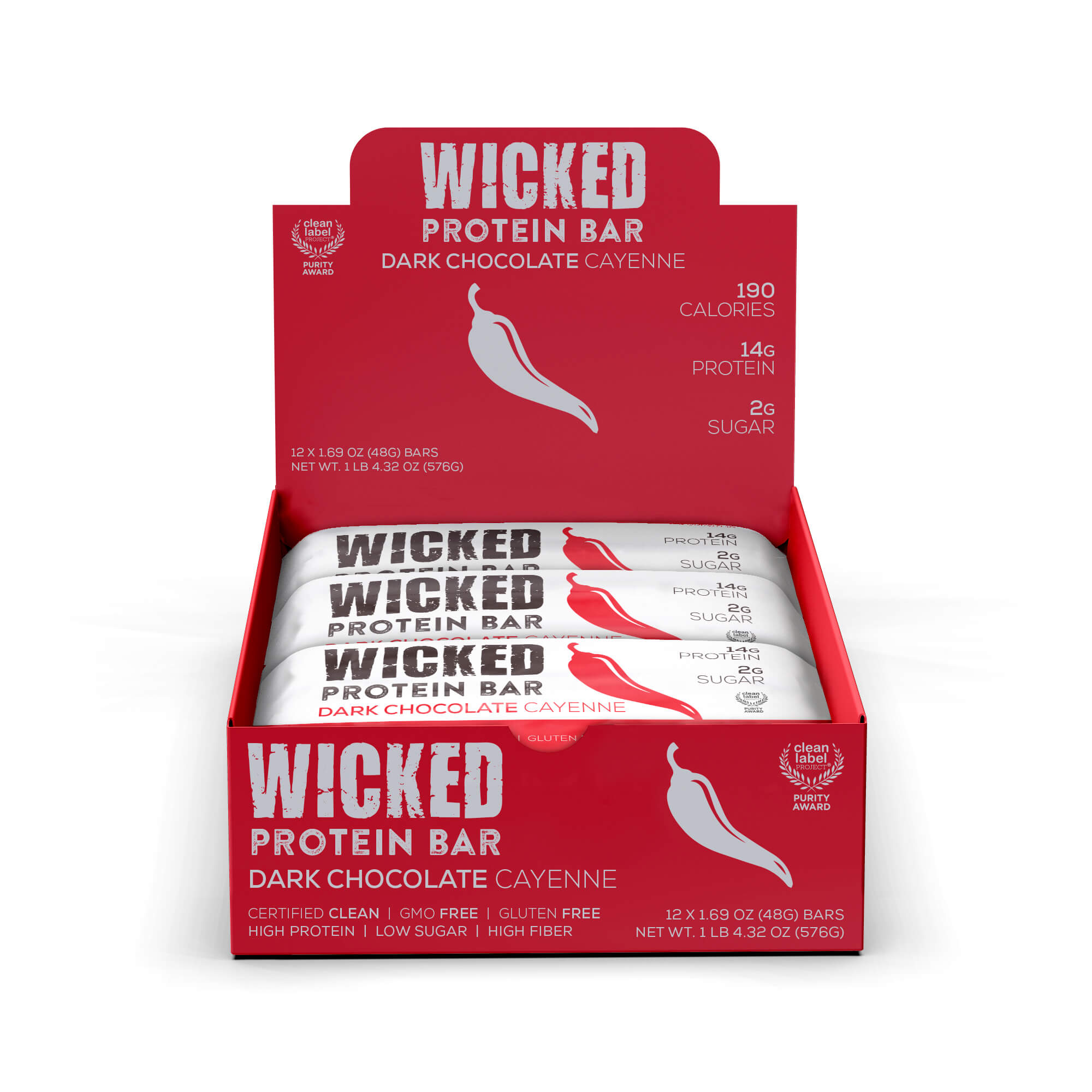 WICKED Dark Chocolate Cayenne Protein Bars (12 Bars/Box) - WICKED Protein Bars