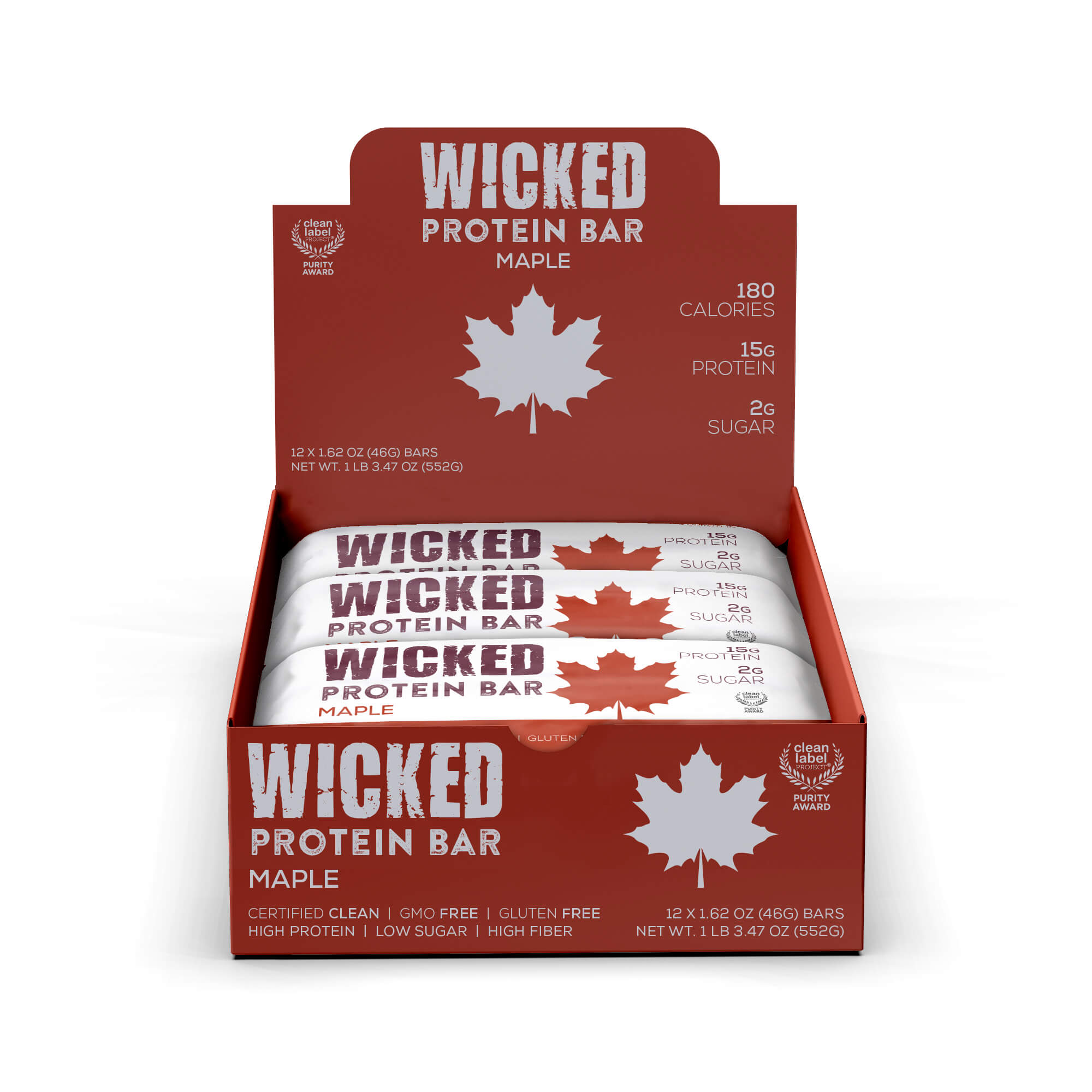 WICKED Maple Protein Bars (12 Bars/Box) - WICKED Protein Bars