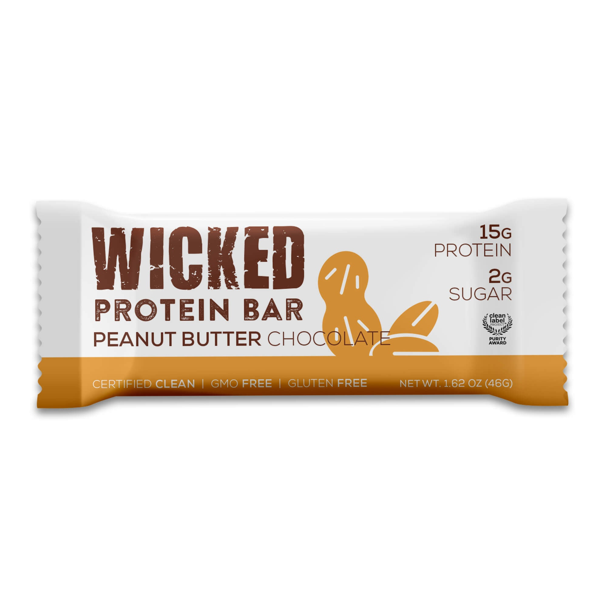 WICKED Peanut Butter Chocolate Protein Bar (12 Bars/Box) - WICKED Protein Bars