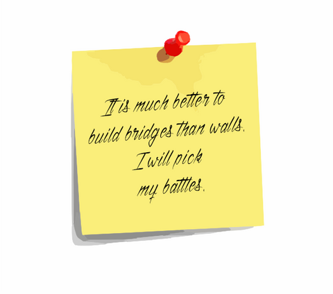 "Daily Affirmation 20: ""It is much better to build bridges than walls. I will pick my battles."""