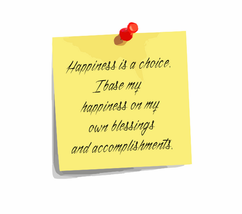 Daily Affirmation 3: Happiness is a choice. I base my happiness on my own blessings and accomplishments.""