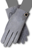Hand sewn short Suede gloves with Swarovski Elements