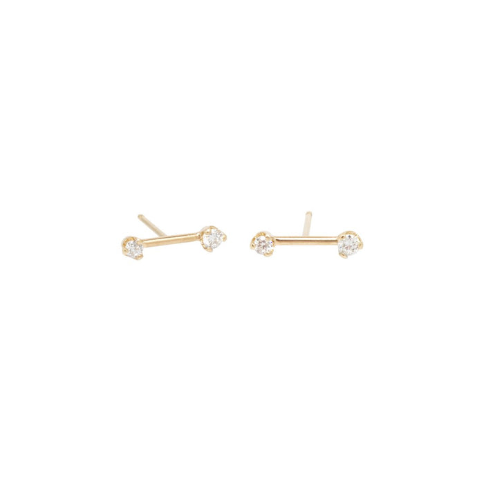 14kt Barbell Prong Diamond Studs