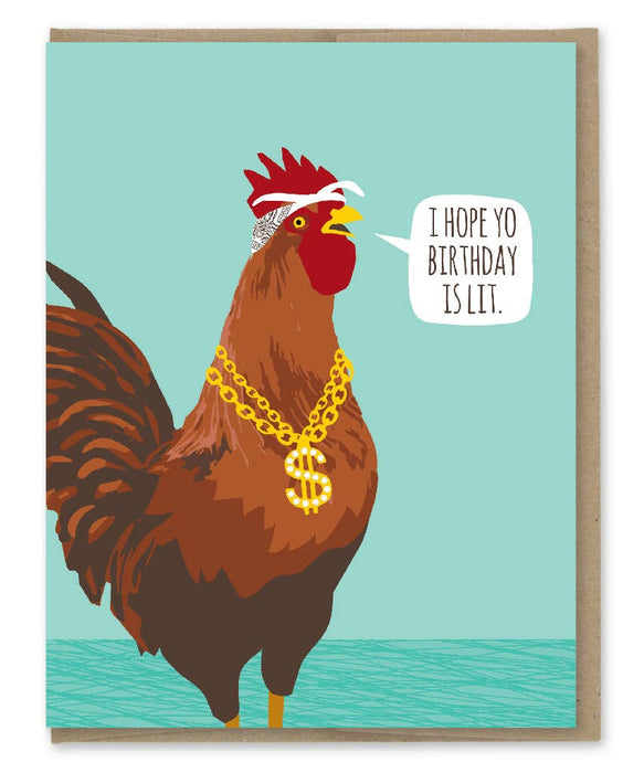 Lit Rooster Birthday Card