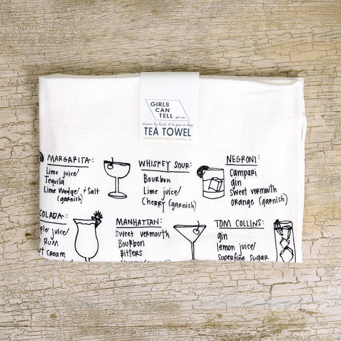 Cocktail Recipes Tea Towel