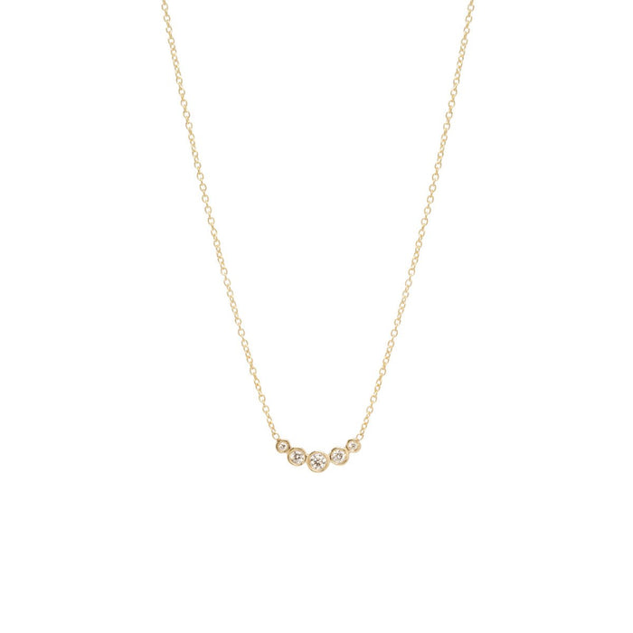 14kt Graduated 5 Diamond Bezel Necklace