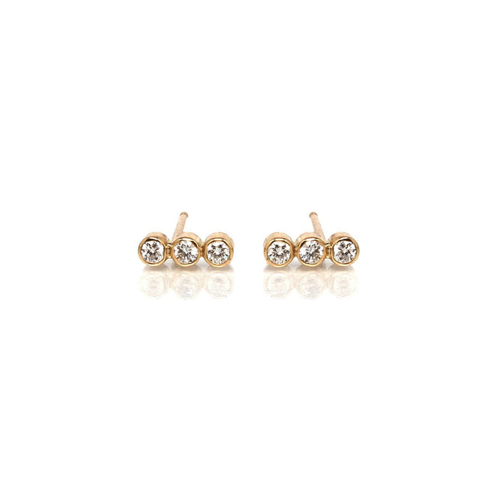 14kt Diamond Bezel Trio Bar Studs
