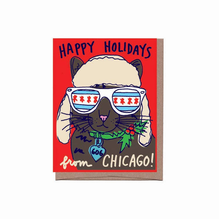 Chicago Cat Holiday Card, Box of 8