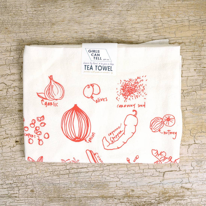 Not Green Herbs Tea Towel