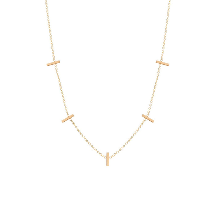 14kt Five Vertical Tiny Bars Necklace