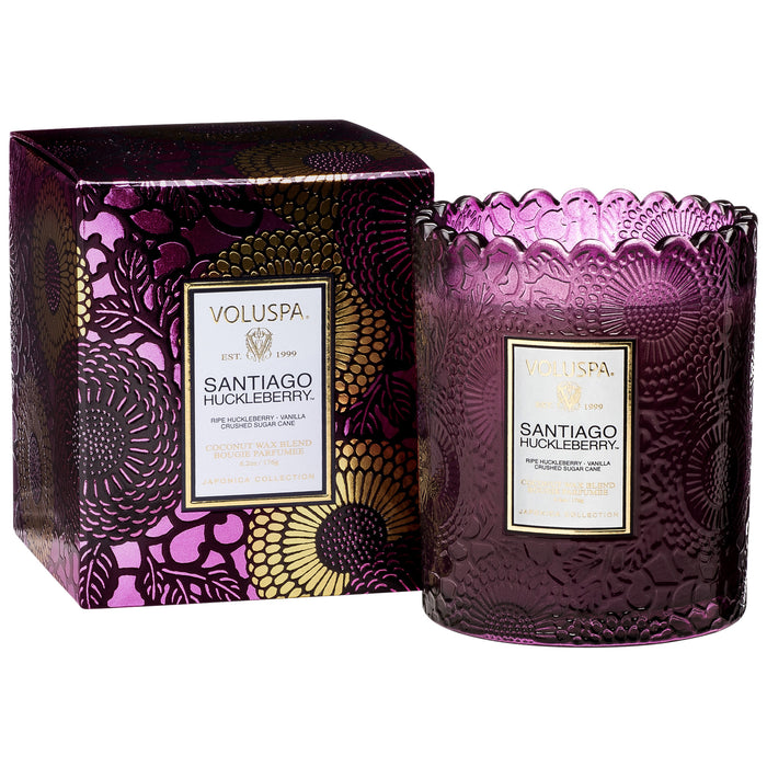 Japonica Scalloped Edged Candle, Santiago Huckleberry
