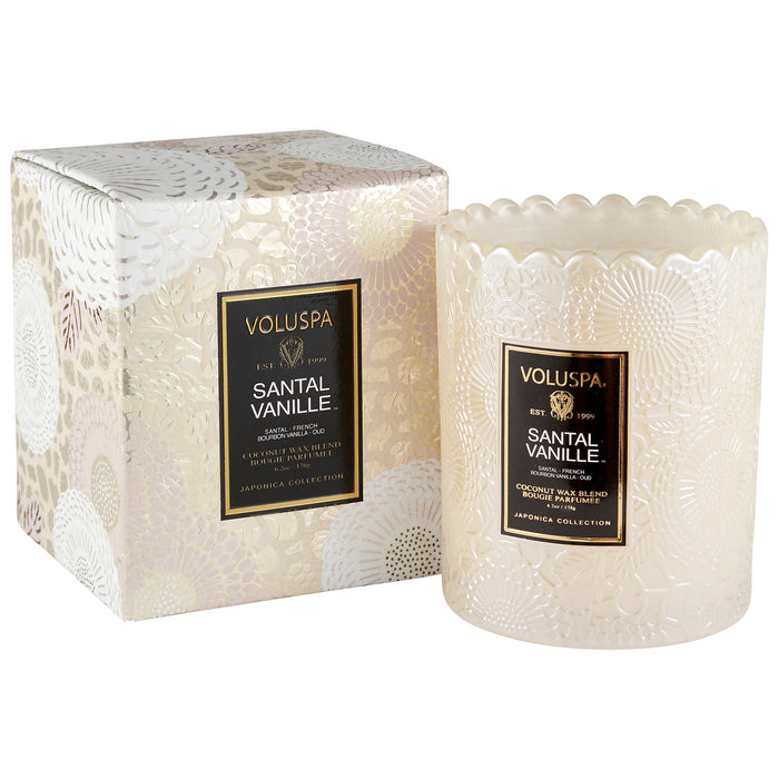 Japonica Boxed Scalloped Edge Candle, Santal Vanille