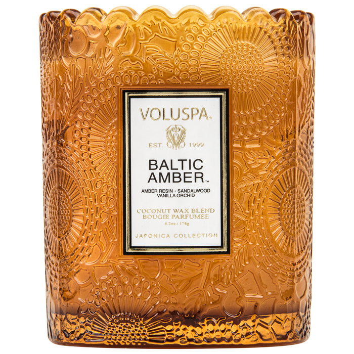 Japonica Boxed Scalloped Edge Candle, Baltic Amber