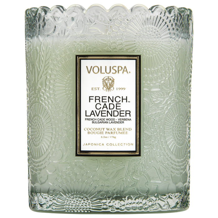Japonica Boxed Scalloped Edge Candle, French Cade Lavender