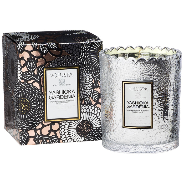 Japonica Boxed Scalloped Edge Candle, Yashioka Gardenia