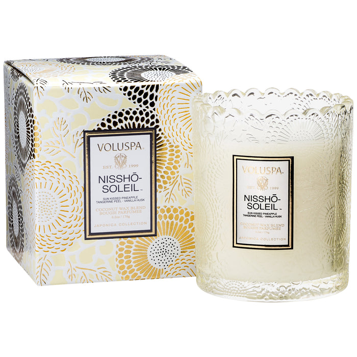 Japonica Boxed Scalloped Edge Candle, Nissho Soleil