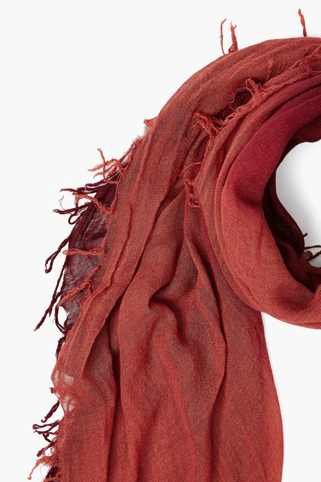 Tawny Port + Marsala ombre cashmere scarf