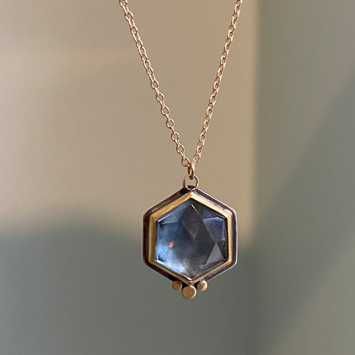 London Blue Topaz Necklace with 22kt Dots