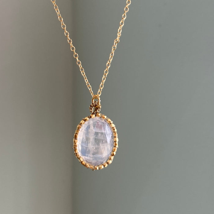 Oval Moonstone with Golden Halo