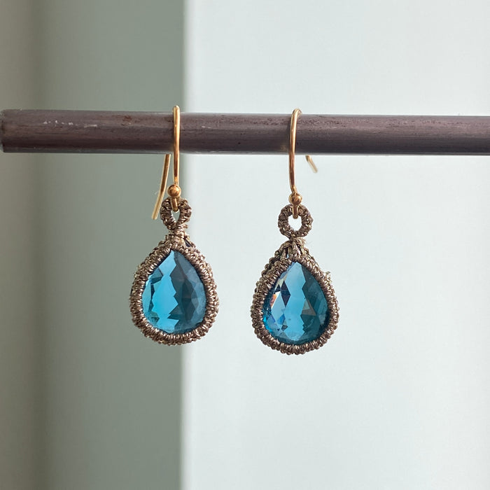 Caged London Blue Topaz Earrings