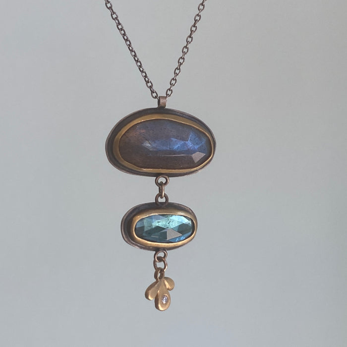 Labradorite + London Blue Topaz Necklace with Diamond Leaf Trio