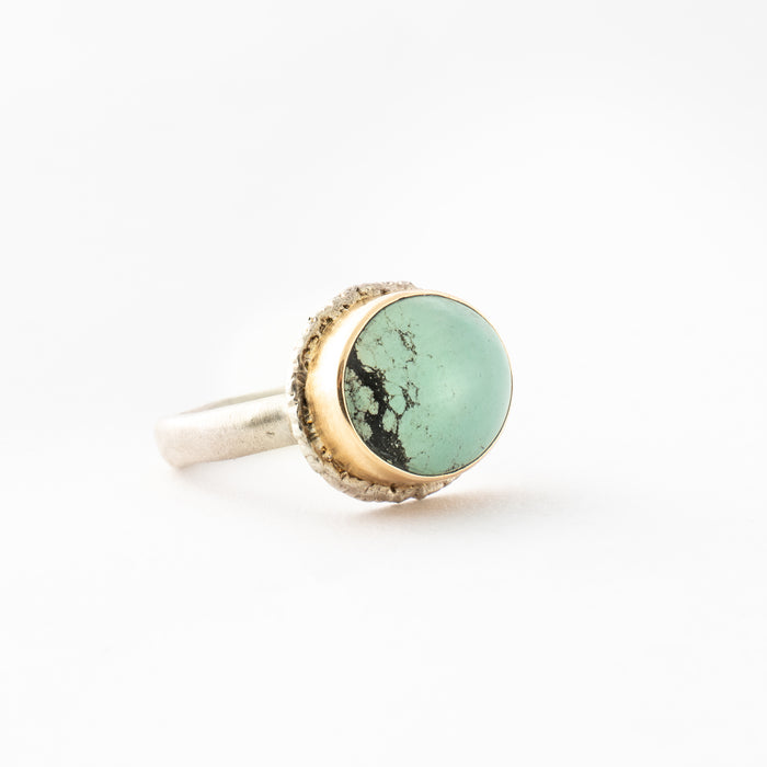 Smooth Oval Green Turquoise Ring