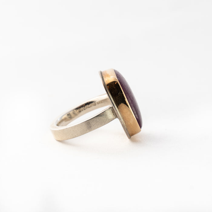 Smooth Square Indian Ruby Ring