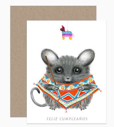 Piñata Mouse Birthday Card