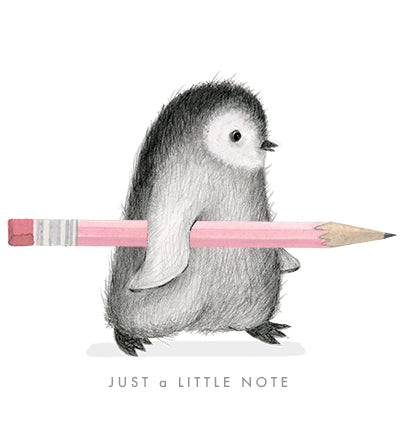Penguin With a Pencil Note Card