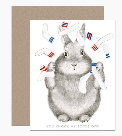 Bunny Knock My Socks Off Card