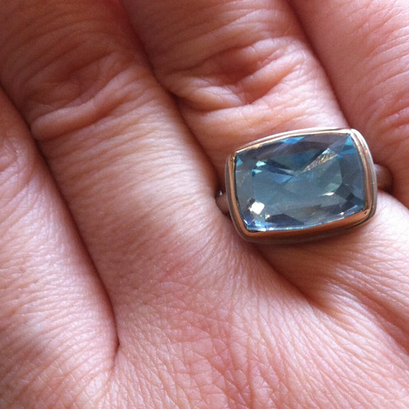 Rectangular Sky Blue Topaz Ring