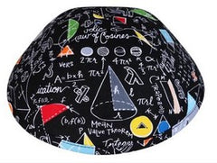 iKIPPAH brand black yarmulke with a genius mathematical formulas and colorful symbols.