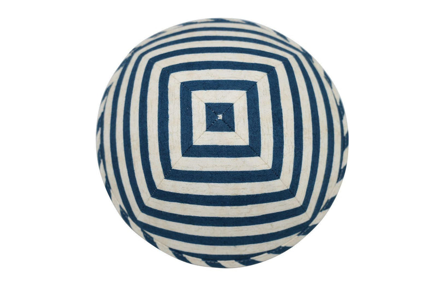 A unique blue and white parallel line iKIPPAH brand yarmulke.