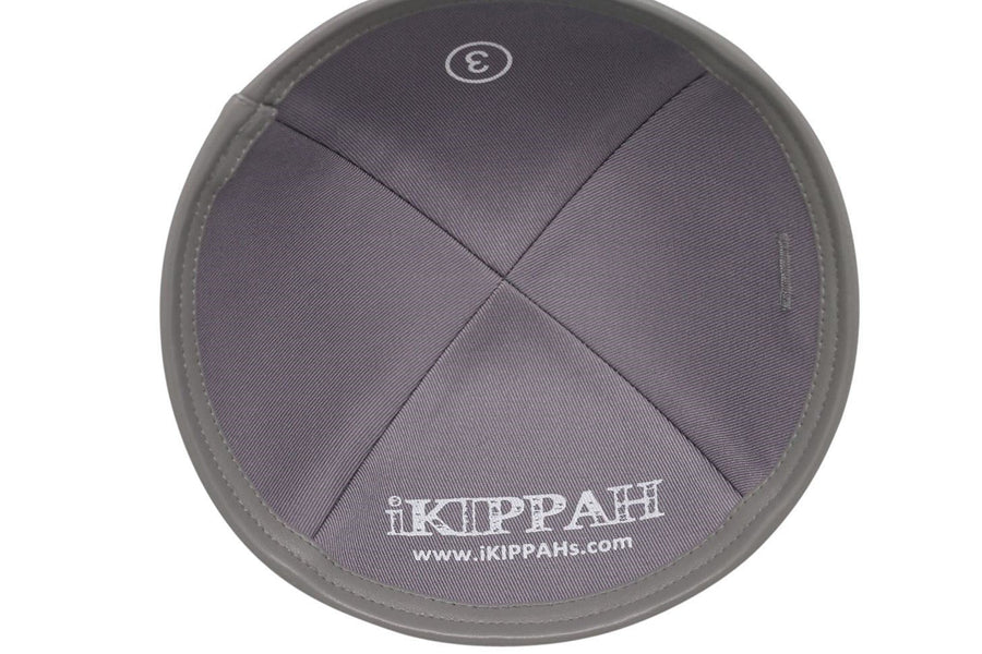 Grey linen iKIPPAH brand yarmulke with a quality leather bottom rim.