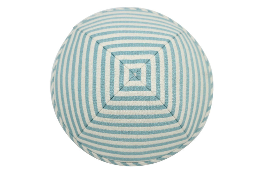 A sea green & white iKIPPAH brand yarmulke with colors in broad horizontal stripes.