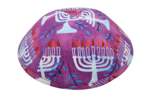 Called the 'ugly' iKippah brand yarmulke, pink & purlple with white menorahs.