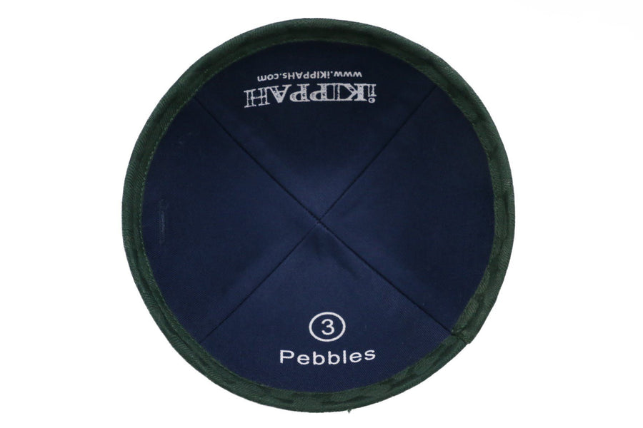 A lush dark green iKIPPAH brand yarmulke with a hint of small round pebbles.
