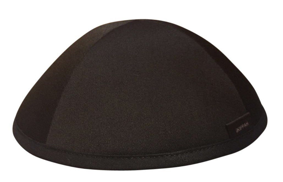 A reversible iKIPPAH yarmulke called the iFLIP shown in black & grey.