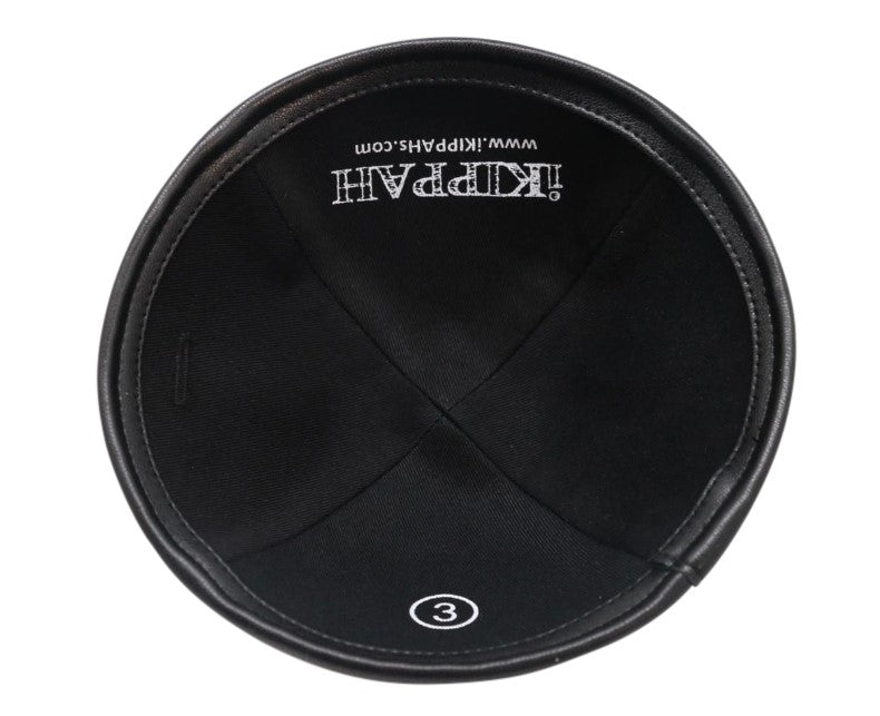 IKIPPAH BLACK VELVET W/ LEATHER RIM YARMULKE