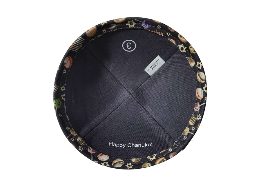 IKIPPAH HAPPY CHANUKAH - NAVY YARMULKE