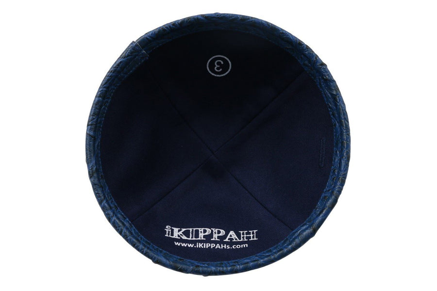 IKIPPAH NAVY CROCODILE LEATHER YARMULKE